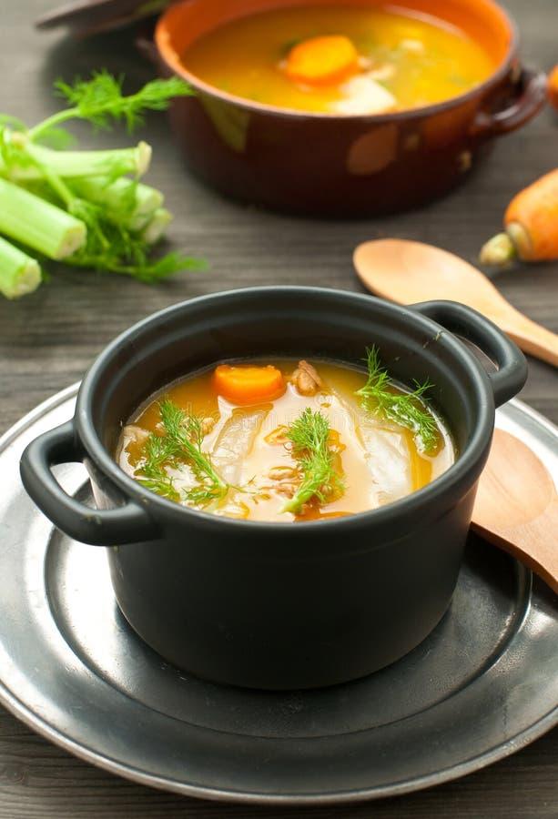 Sopa de la zanahoria con hinojo y nueces y perejil imagen de archivo