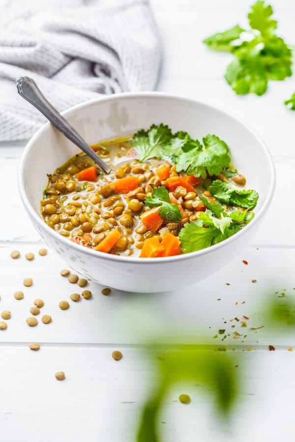 Sopa de lentilha caseiro do vegetariano com vegetais e coentro, w branco fotos de stock royalty free