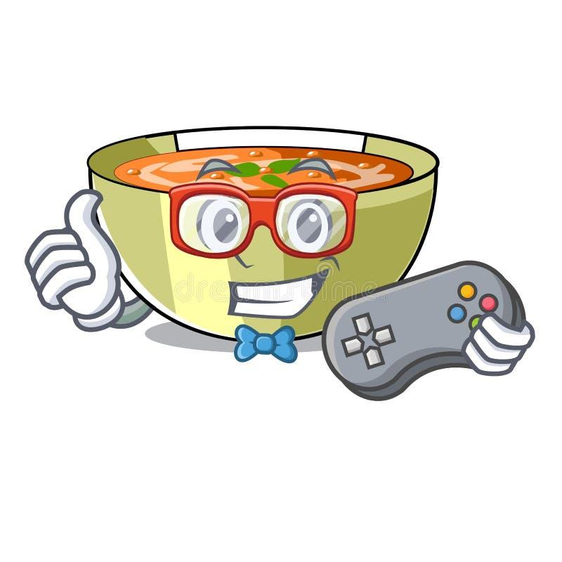 Sopa de lentilha do Gamer na tabela de madeira do caráter ilustração do vetor