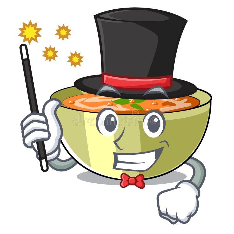 Sopa de lentilha do mágico em uma placa dos desenhos animados ilustração stock