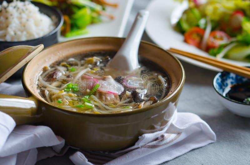 Sopa de los brotes de haba con las verduras, la carne y los pescados fotografía de archivo libre de regalías