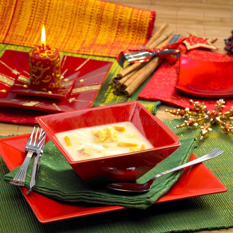 Sopa de los pescados de la Navidad fotografía de archivo libre de regalías