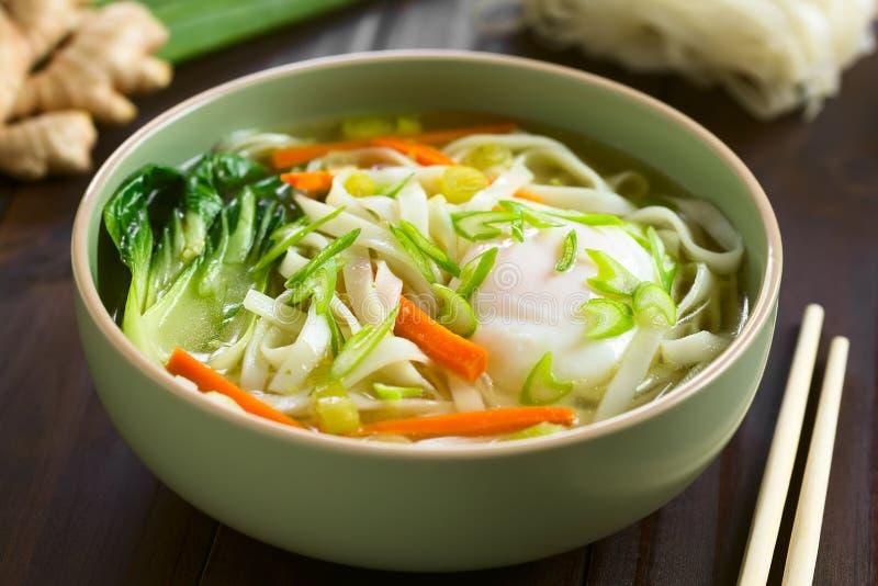 Sopa de macarronete asiática do arroz imagens de stock