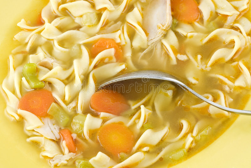 Sopa de macarronete caseiro da galinha fotografia de stock