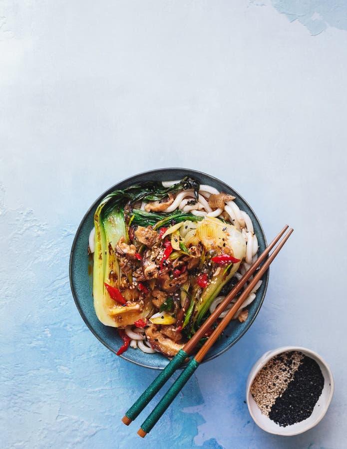 Sopa de macarronete do Udon do vegetariano com sabores asi?ticos foto de stock