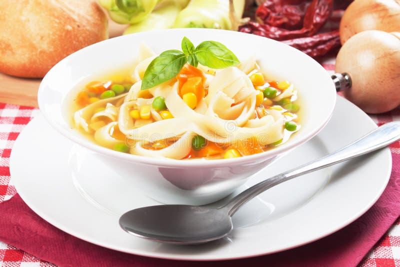 Sopa de macarronete vegetal imagem de stock