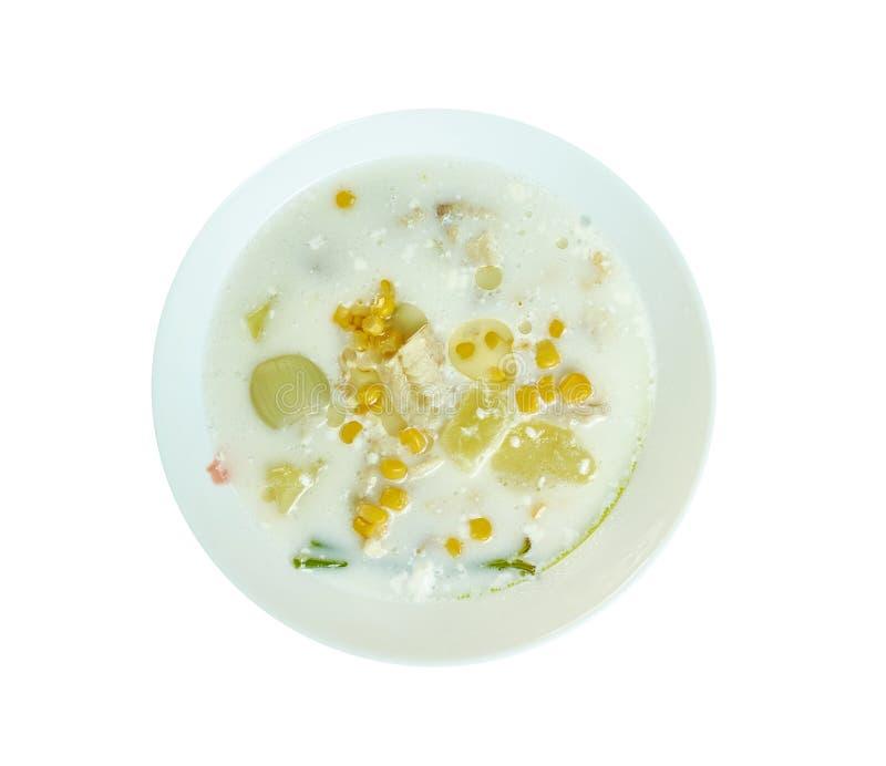 Sopa de milho doce de haddock imagem de stock royalty free