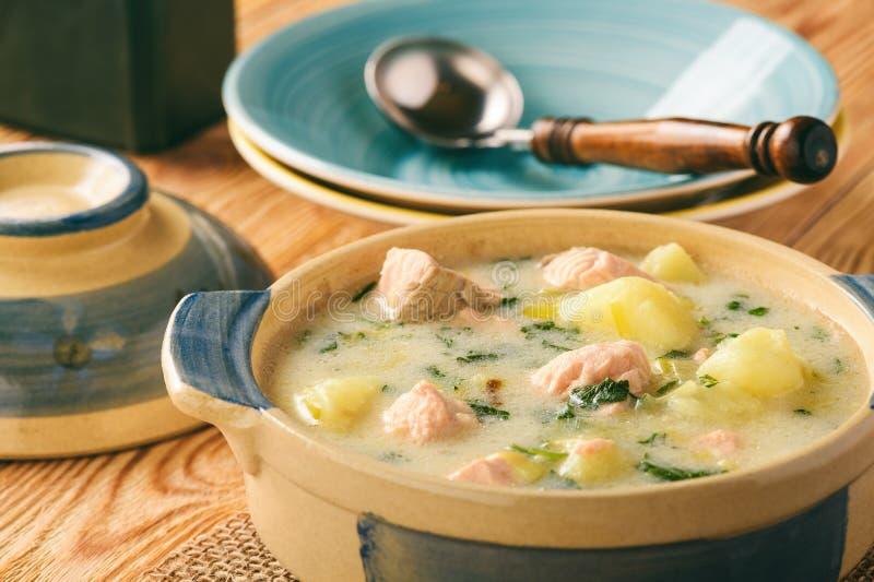 Sopa de patata con los salmones, el puerro, la crema agria y el perejil fotografía de archivo libre de regalías