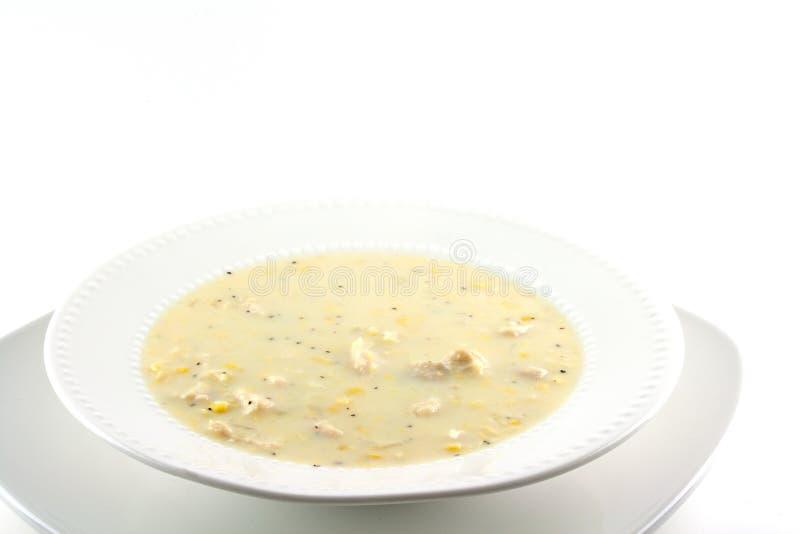 Sopa de pescado de maíz hecha en casa del pollo fotografía de archivo libre de regalías