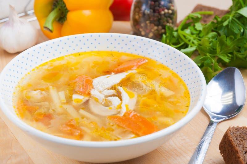 Sopa de pollo con las patatas y las verduras en una placa blanca Adornado con la poción de la pimienta y el pan de centeno fotos de archivo libres de regalías