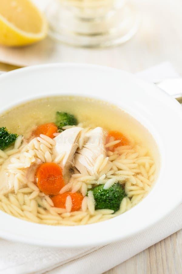 Sopa de pollo con las verduras y orzo imágenes de archivo libres de regalías