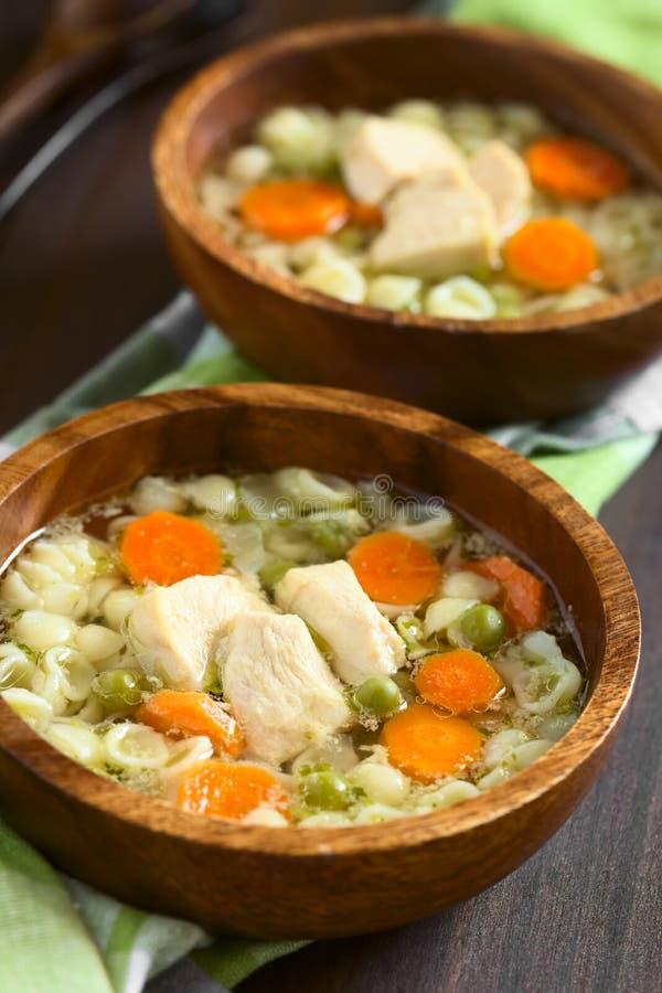Sopa de pollo hecha en casa con el guisante, la zanahoria y Shell Pasta imagen de archivo libre de regalías