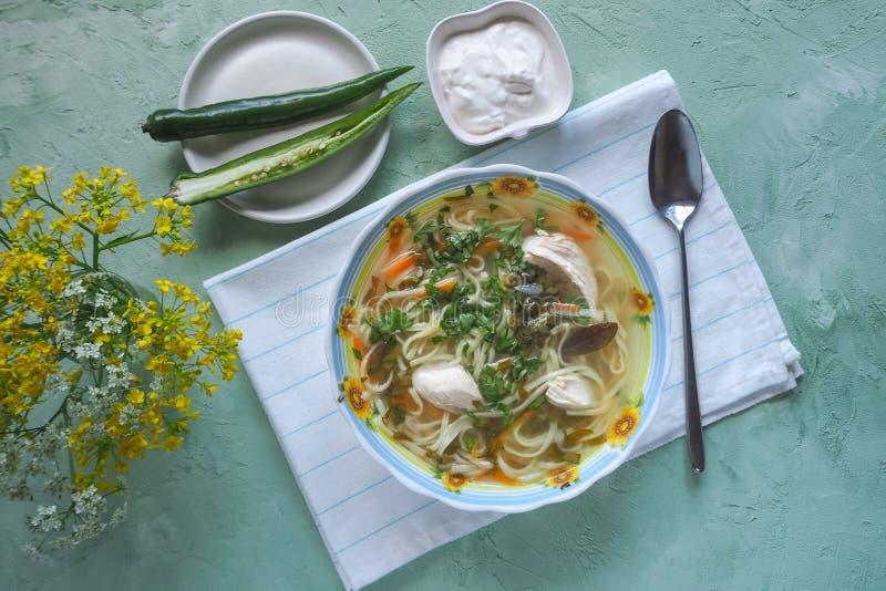 Sopa de pollo de Zama, del rumano y del moldavo con los tallarines Sopa tradicional de la resaca imagen de archivo