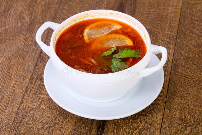 Sopa de Solyanka com limão fotografia de stock royalty free
