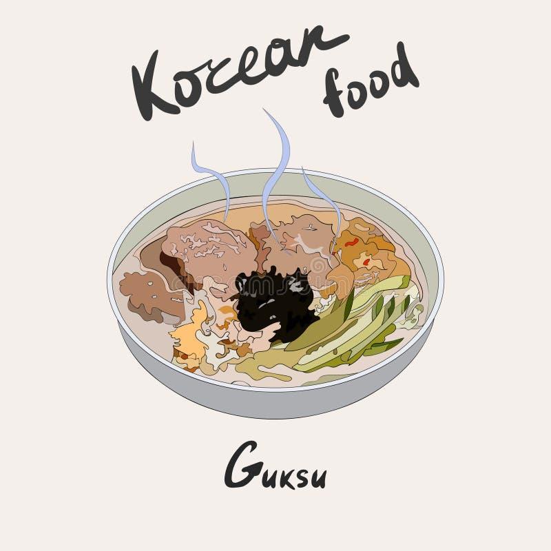 Sopa de tallarines caliente coreana de Guksu hecha con el myeon Acompañamiento coreano de Tradional ilustración del vector