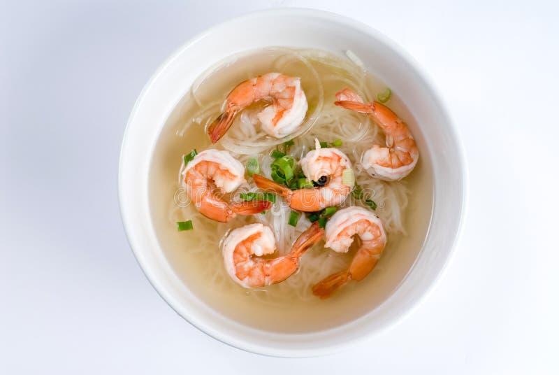 Sopa de tallarines de arroz de los mariscos imagen de archivo