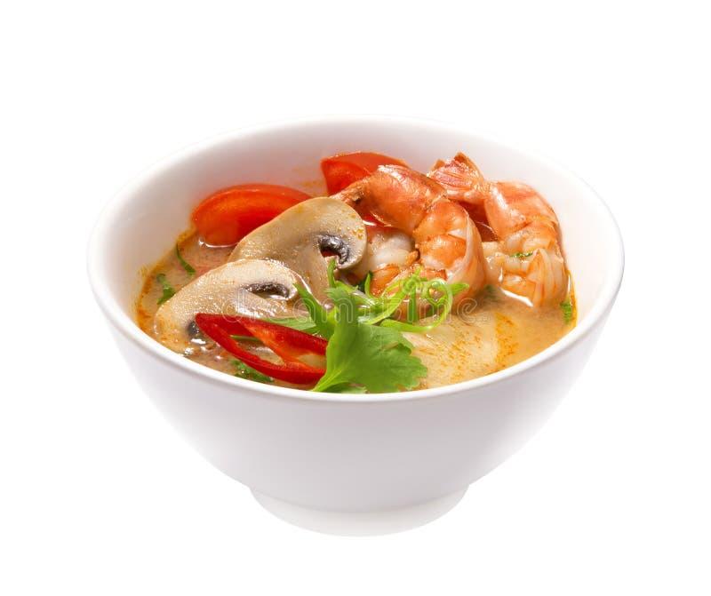 Sopa de Tom Yam Kung isolada imagens de stock