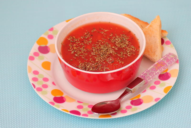 Sopa de tomates fotografía de archivo