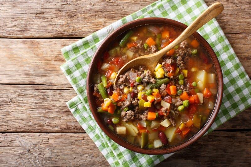 Sopa de verduras con el primer de la carne picada en un cuenco t horizontal imagen de archivo libre de regalías