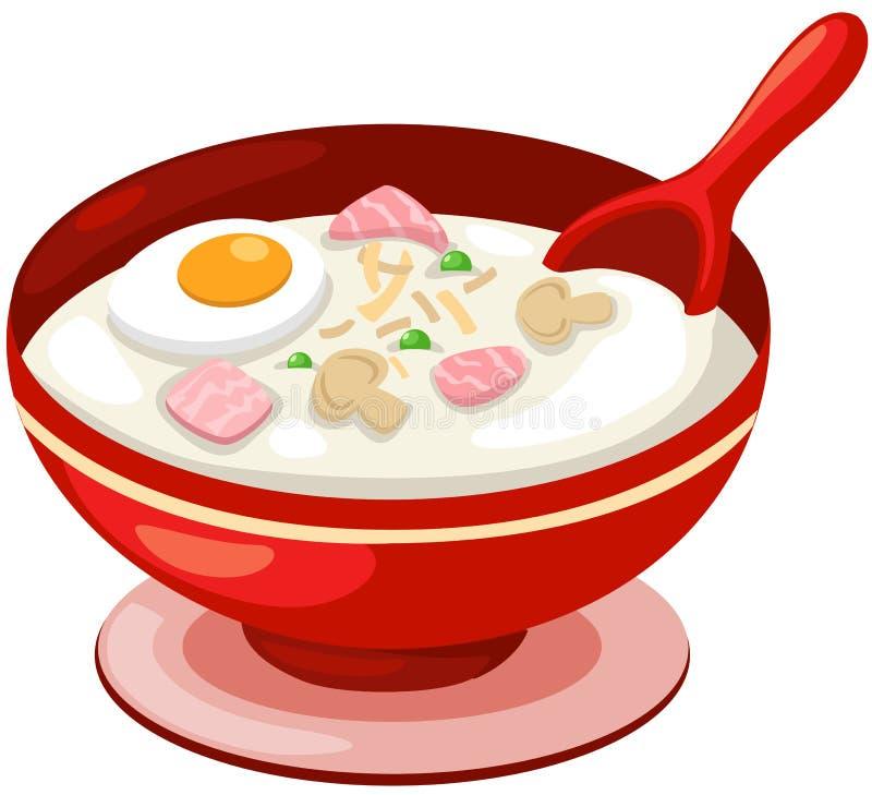 Sopa del arroz con el huevo libre illustration