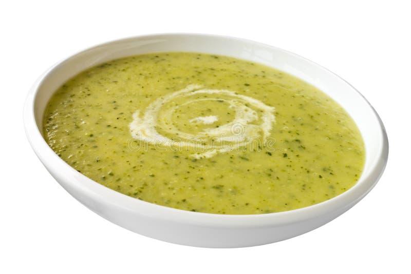 Sopa del calabacín o del calabacín en blanco imagen de archivo libre de regalías