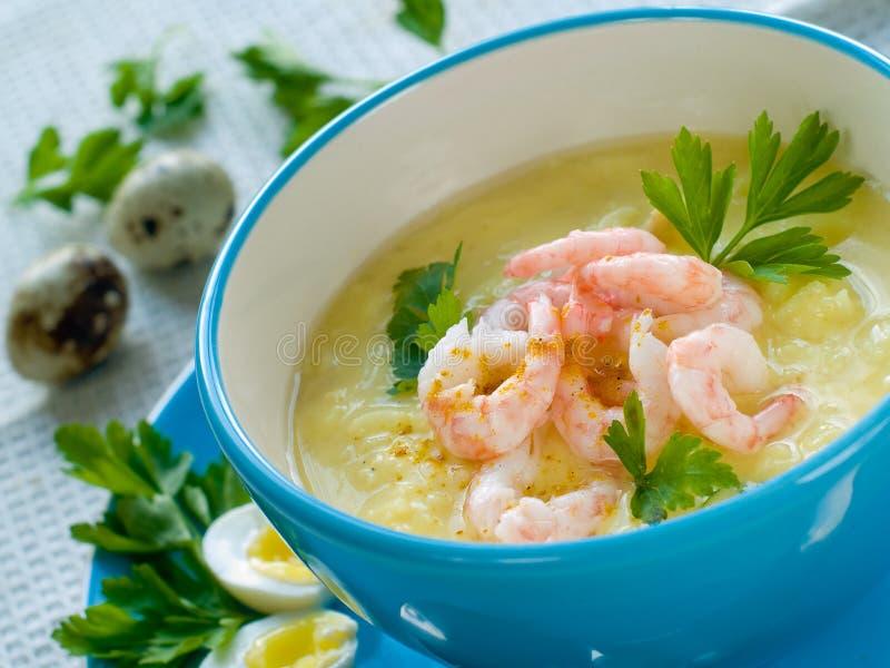 Sopa del camarón imagen de archivo