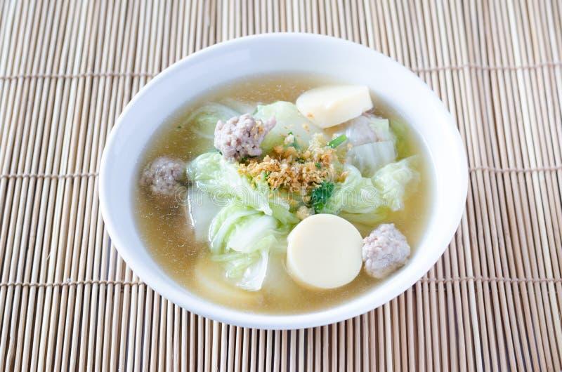Sopa del queso de soja con las verduras y el cerdo imagen de archivo