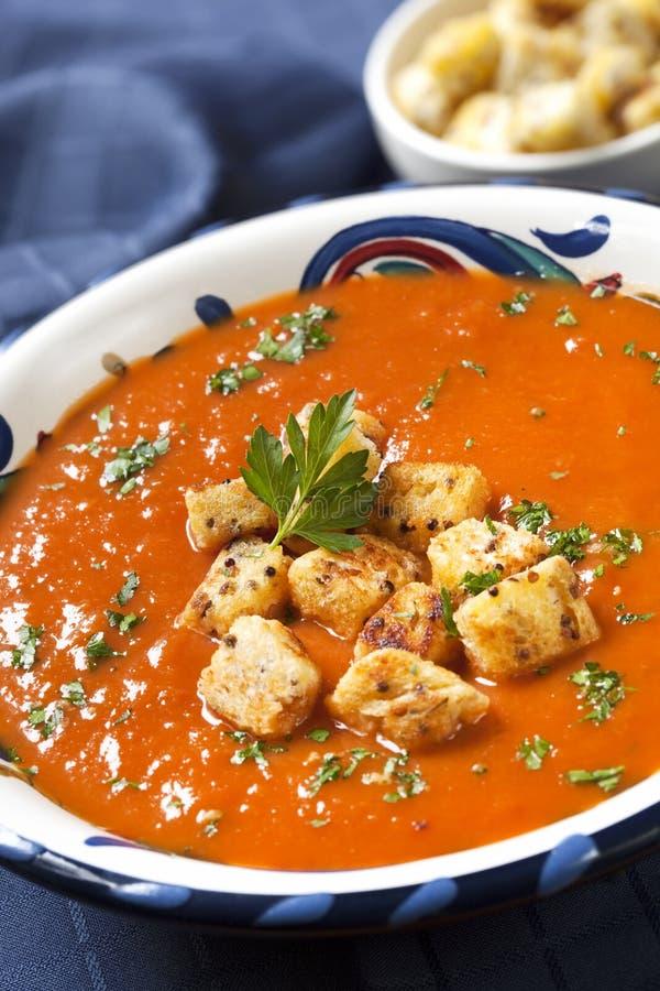 Sopa del tomate con los cuscurrones fotografía de archivo libre de regalías