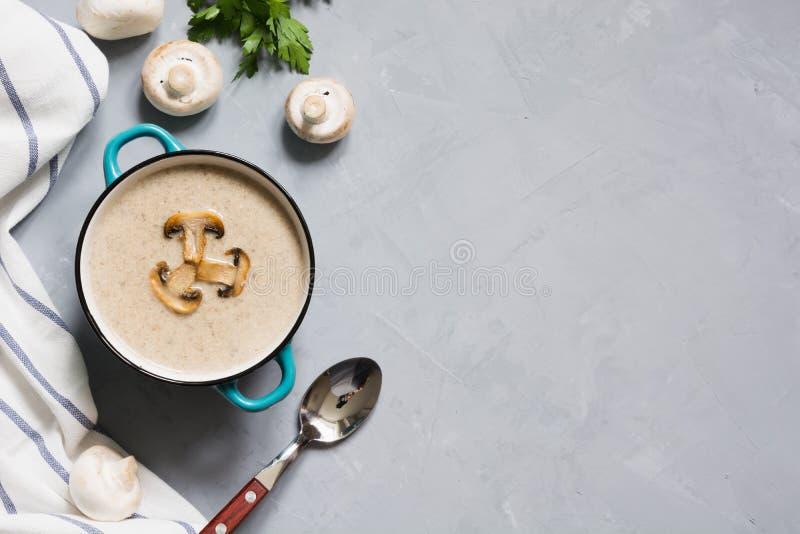 Sopa deliciosa del champiñón de la seta en la tabla concreta gris Maqueta horizontal, visión desde arriba foto de archivo