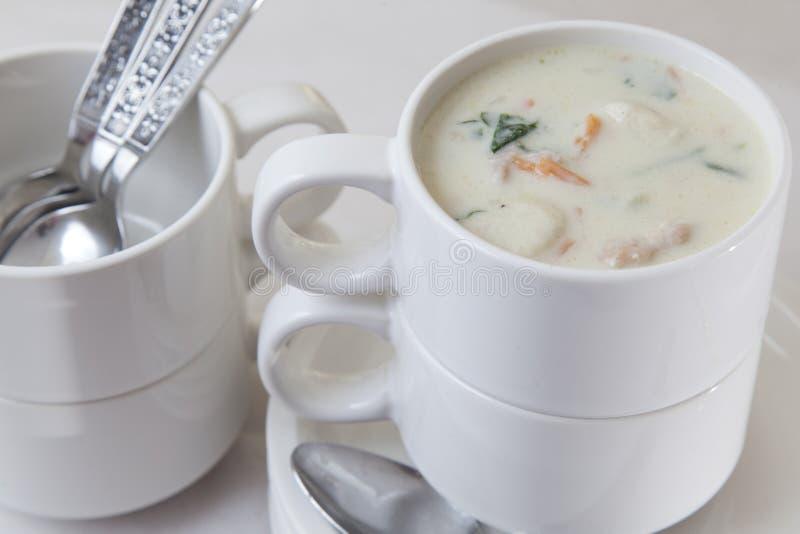 Sopa desnatada da galinha e do Gnocchi foto de stock royalty free