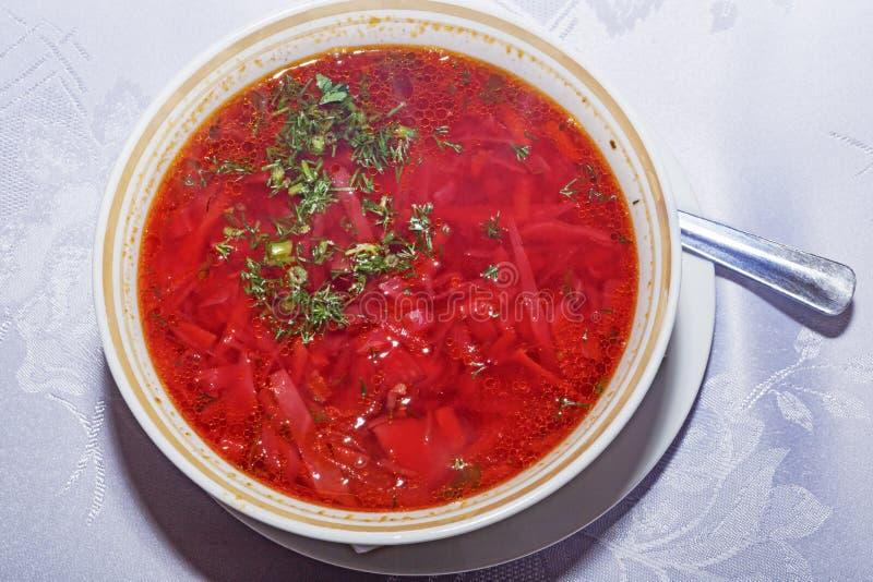 Sopa do borsh tradicional do russo e do ucraniano imagem de stock royalty free
