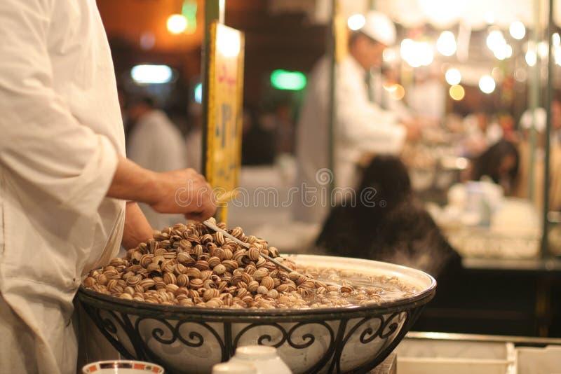 Sopa do caracol no EL Fna de Djemaa imagens de stock royalty free