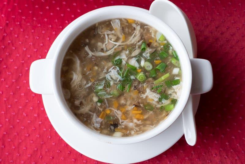 A sopa do chinês tradicional com o lago ocidental da carne e dos vegetais melhora em uma placa branca em um fundo vermelho Vista  foto de stock royalty free