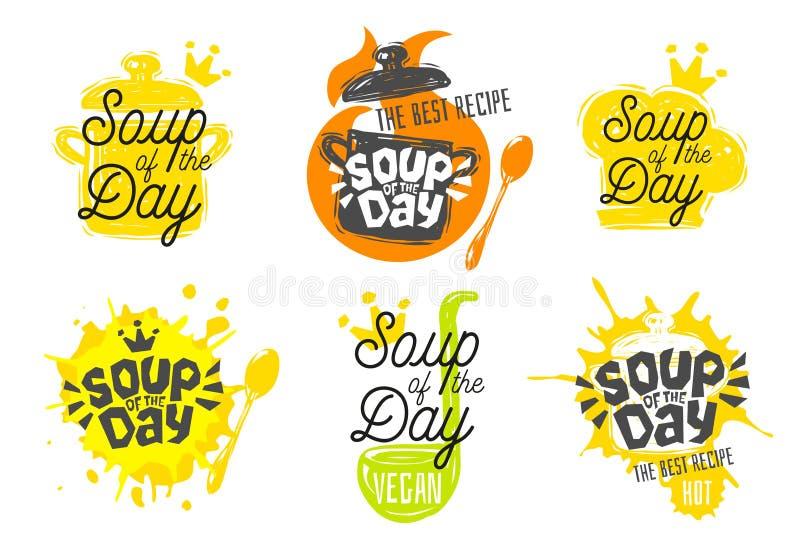 Sopa do dia, estilo do esboço que cozinha os ícones da rotulação ajustados ilustração royalty free