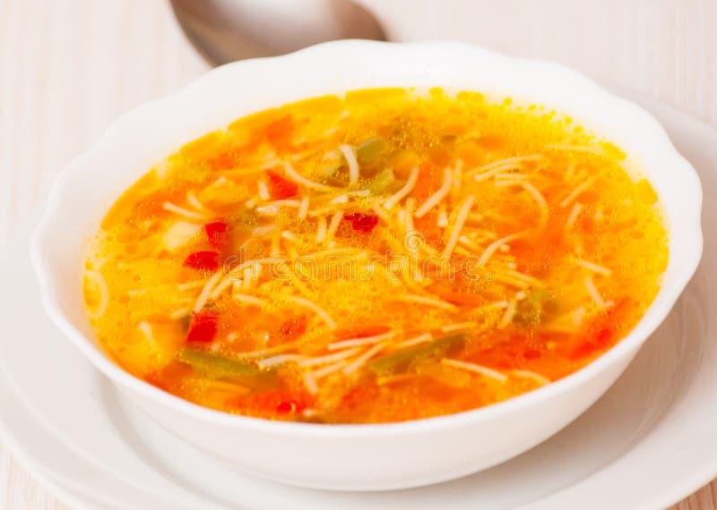 Sopa do legume fresco com macarronetes foto de stock royalty free