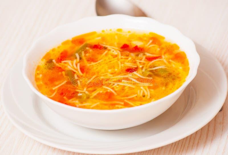 Sopa do legume fresco com macarronetes fotografia de stock