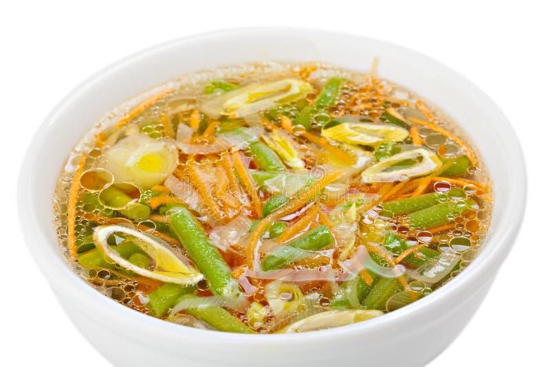 Sopa do legume fresco feita do feijão verde imagens de stock royalty free