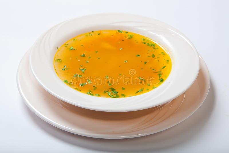 Sopa do legume fresco feita do feijão verde, cenoura, batata, pimenta de sino vermelha, tomate na bacia fotos de stock royalty free