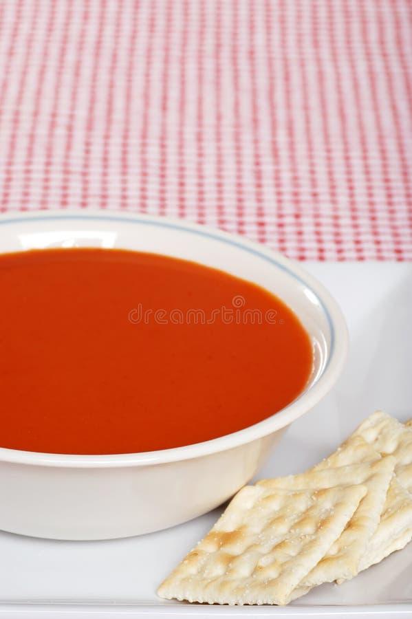 Sopa do tomate com biscoitos foto de stock