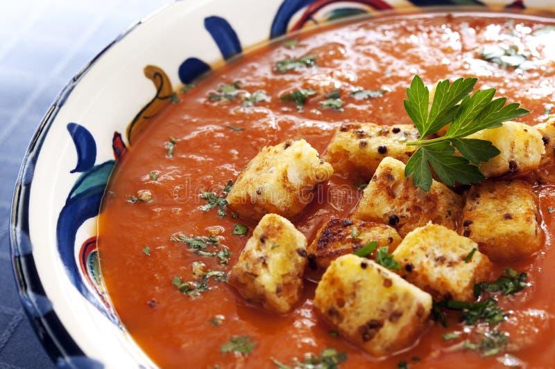 Sopa do tomate com fritos de pão fotos de stock