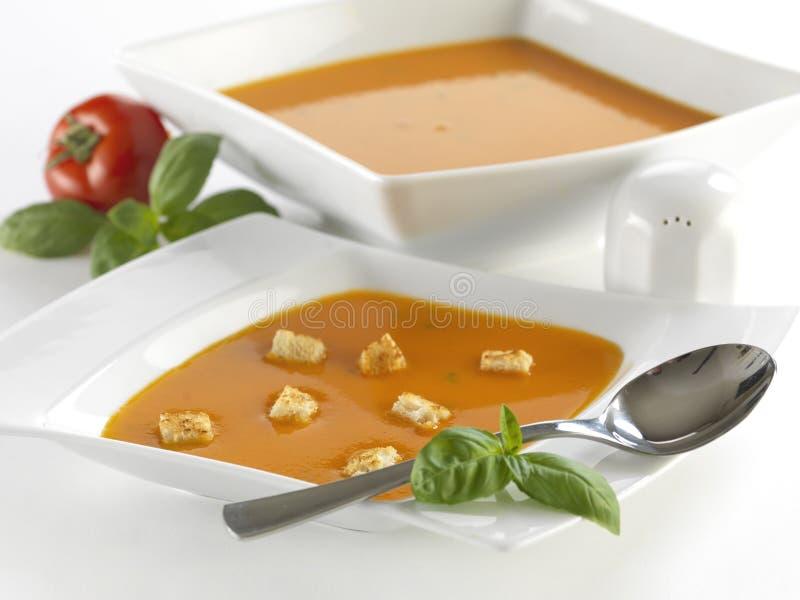 Sopa do tomate com manjericão fotografia de stock royalty free