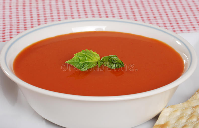 Sopa do tomate com manjericão fresca imagens de stock