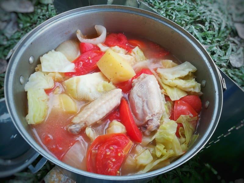 Sopa do tomate da batata da galinha com a erva do vocação de Tailândia fotografia de stock royalty free