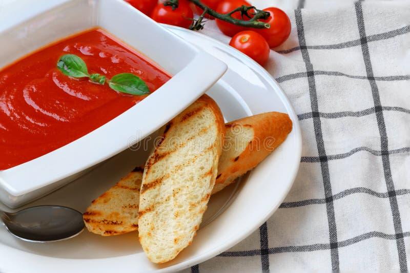Sopa do tomate em uma placa branca imagens de stock royalty free