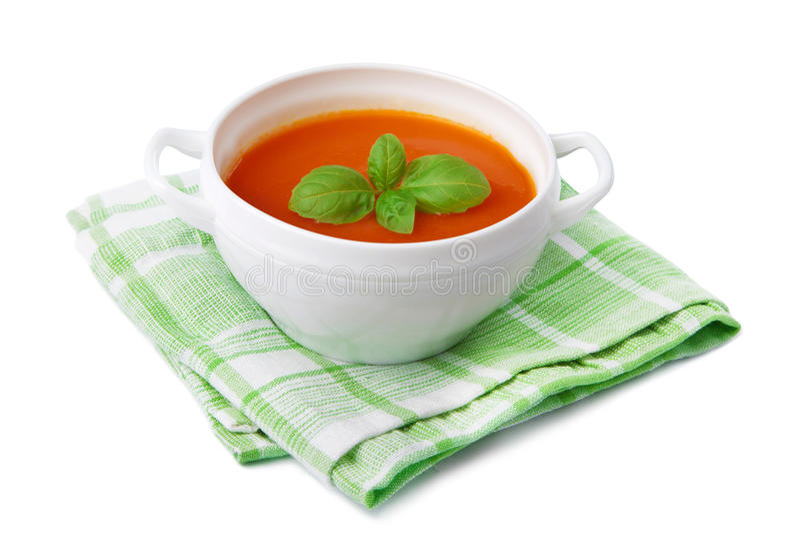 Sopa do tomate isolada fotografia de stock royalty free