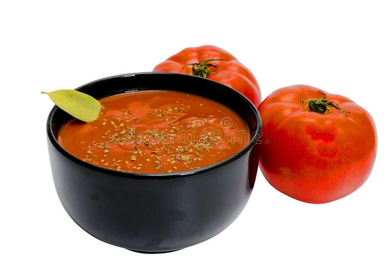 Sopa do tomate isolada imagens de stock royalty free