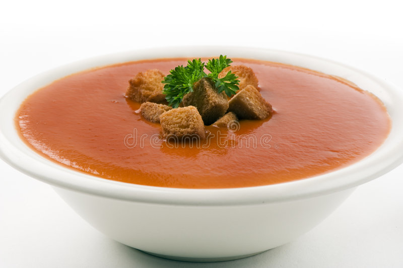 Sopa do tomate no fundo branco fotos de stock royalty free