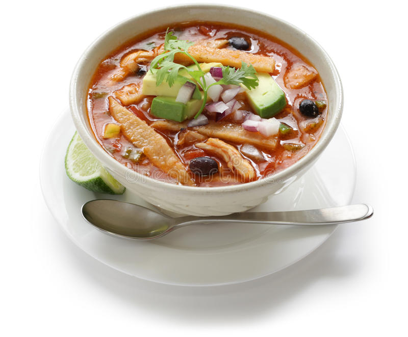Sopa do Tortilla, culinária mexicana imagens de stock