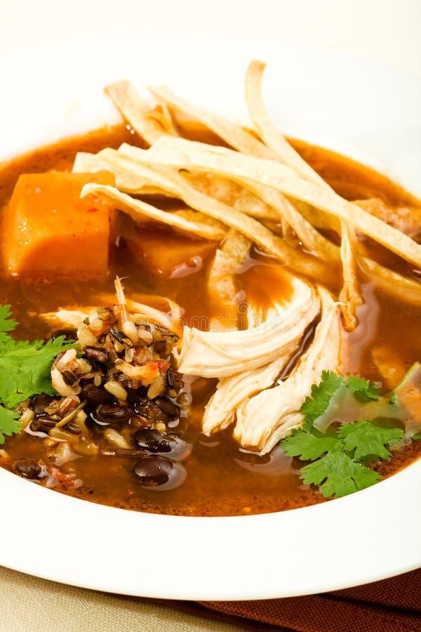 Sopa do Tortilla da galinha de Chipotle imagens de stock royalty free