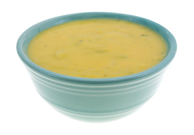 Sopa dos brócolis e do queijo em uma bacia pequena fotografia de stock royalty free